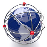 Planet Earth in Atom Cage America Stock Image