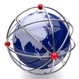 Planet Earth in Atom Cage Asia. On White Background Stock Photos