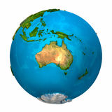 Planet Earth - Australia. Colorful globe with detailed and realistic surface, 3d render Royalty Free Stock Photography
