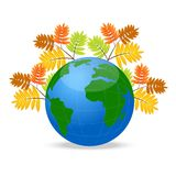 Planet earth with the autumn leaves of wild ash Stock Image