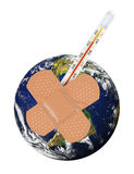 Planet Earth with bandaid and thermometer. Royalty Free Stock Images