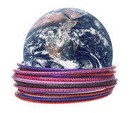 Planet Earth with Bangles Macro Isolated. Isolated macro image of planet Earth with traditional Nepalese bangles Royalty Free Stock Photo