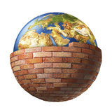 Planet earth behind a brick wall Royalty Free Stock Image
