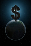 Planet Earth with big dollar sign above it Royalty Free Stock Photography