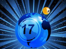 Planet earth with bingo lottery number in the space Royalty Free Stock Photos