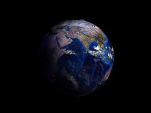 Planet earth on black background view from space 3d illustration Royalty Free Stock Photography