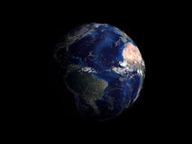 Planet earth on black background view from space 3d render Royalty Free Stock Images