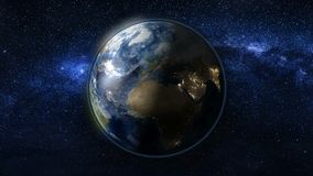 Planet Earth in black and blue Universe of stars Royalty Free Stock Photography