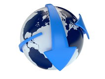 Planet earth and blue arrows Stock Photo