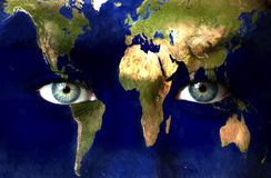 Planet earth and blue eyes. Planet earth and blue human eyes Royalty Free Stock Images