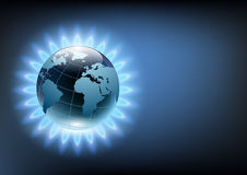 Planet earth in the blue flame of a gas burner. Vector planet earth in the blue flame of a gas burner Stock Photos