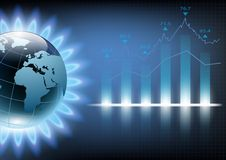 Planet earth in the blue flame of a gas burner. Vector illustrat. Ion of financial graph chart Stock Photo