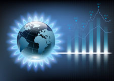 Planet earth in the blue flame of a gas burner. Vector illustration of financial graph chart Stock Photos