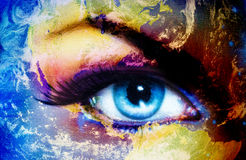 Planet Earth and blue human eye with violet and pink day makeup. Eye painting. Stock Photos