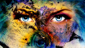 Planet Earth and blue human eye with violet and pink day makeup. woman eye painting.  Royalty Free Stock Images