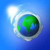 Planet earth in the blue sky Royalty Free Stock Photography