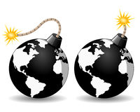 Planet Earth Bomb Icon. Black planet Earth bomb icon burning in two different versions, on white background. Eps file available Royalty Free Stock Photo