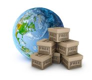 Planet earth and boxes stock illustration