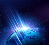 Planet earth in the bright rays of light. Vector illustration Royalty Free Stock Photos