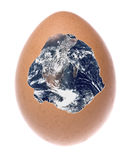 Planet Earth Broken Egg Macro Isolated Stock Photos