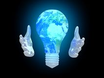 Planet Earth bulb between palms  background. Safe concept. 3D render Royalty Free Stock Photo