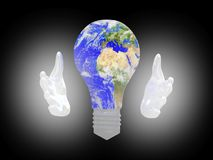 Planet Earth bulb in palms  background. Safe concept. 3D render Stock Photo