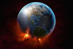 Planet earth burns in space royalty free stock photos