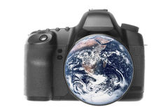 Planet Earth Camera Isolated. Isolated macro image of planet earth camera Royalty Free Stock Image