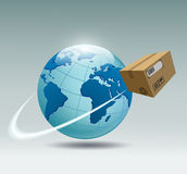 Planet earth and a cardboard box that revolves around her Royalty Free Stock Images