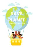 Planet Earth children concept. Different international multicultural children on the planet Earth balloon background Stock Photos