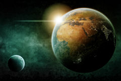Planet Earth cities lights illustration Royalty Free Stock Photography