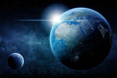 Planet Earth cities lights illustration Stock Images