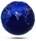 Planet Earth city light white isolated Royalty Free Stock Photography