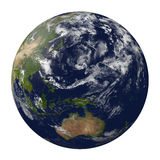 Planet earth with clouds. Australia and part of As. 3D render. Elements of this image furnished by NASA Stock Photos