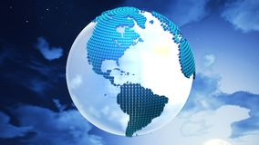 Planet Earth on the clouds background. Royalty Free Stock Photos
