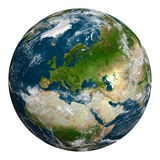 Planet earth with clouds. Europe, part of Africa and Asia. Royalty Free Stock Image