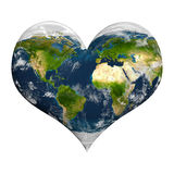 Planet earth with clouds in heart shape Stock Images