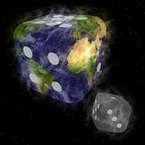 Planet Earth with clouds and Moon as dice. Computer generated 3D illustration of planet Earth with clouds and Moon as dice. Theme of transformation, year 2012 stock illustration