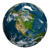 Planet earth with clouds. North America. Royalty Free Stock Photos