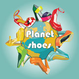 Planet earth and Colorful fashion womens shoes.Fas Royalty Free Stock Photography
