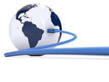 Planet earth connected by usb cable Royalty Free Stock Images