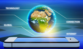 Planet earth with the continent of Africa on a. Mobile phone. Earth land map derived from public NASA observatory - http://visibleearth.nasa.gov/view_rec.php?id Royalty Free Stock Image