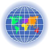 Planet Earth with continents, meridians, latitudes. Earth globe with meridians and latitudes. The scheme of six color continents. North and South America, Europe Stock Photo
