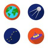 Planet Earth with continents and oceans, flying satellite, Ursa Major, UFO. Space set collection icons in flat style Royalty Free Stock Image