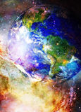 Planet Earth in cosmic space Cosmic Space background. Stock Photos