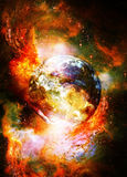 Planet Earth in cosmic space Cosmic Space background. Royalty Free Stock Images