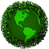 Planet earth covered with the leaves. Eco globe. Ecology planet with with leaves around. eco earth. Eco globe, eco planet Royalty Free Stock Image