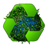 Planet earth covered with the leaves. Eco globe.Recycle logo with tree and earth. Eco globe with recycle signs. Stock Image