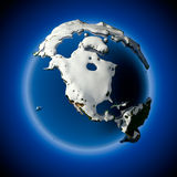 Planet Earth is covered by snow Stock Photos