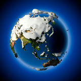 Planet Earth is covered by snow. Relief planet Earth is covered with snow drifts - the concept of the winter season, snowy weather, Christmas holidays and New Royalty Free Stock Photos